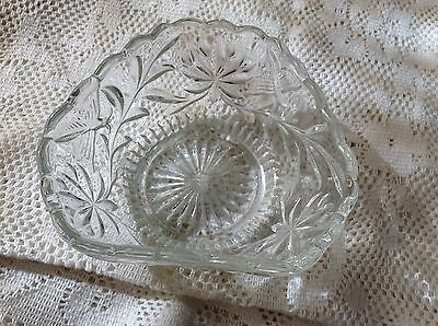 Crown Crystal Depression Glass Series 51 Butterfly Tri Fold Art Deco Bowl