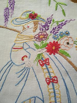 Crinoline Lady Vintage Hand Embroidered piece/ Panel - Craft? Frame?