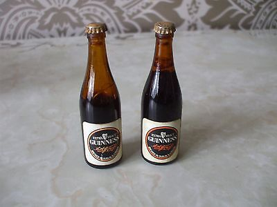 Vintage Retro Pair of miniature Guinness Bottles 8.5cm Tall