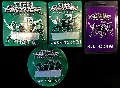 Steel Panther - All Access Tour Laminate + 3 Satin Backstage Passes - 2015/16