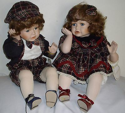 Copperart Bisque Porcelain Twin Dolls, Jack and Therisa - New