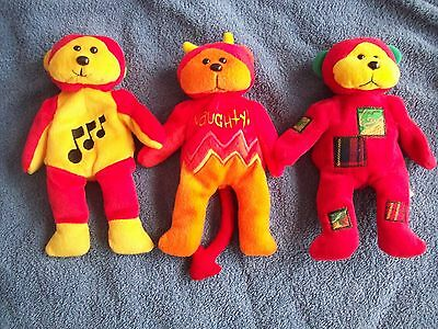Naughty the bear - Patches  - Melody the musical bear    -   beanie kids