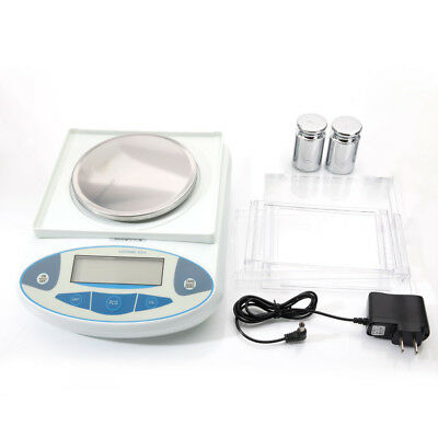 3000x0.01g Portable Lab Analytical Balance Precision Electronic LCD Scale White