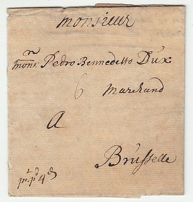 1719 Letter From Exon To Brussels Via London, Dover, Ostend And Gent. 6 Stuivers