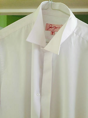 Men's white wing collar shirt exc con double cuff wedding,black tie dinner party