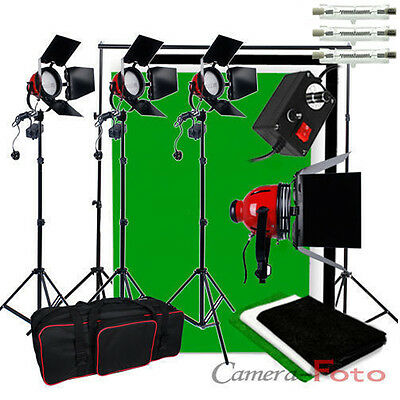 Video 2400W Red Head Continuous Lighting Kit 3 Cotton Background Backdrops Stand