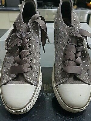 Grey dimante trainers