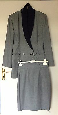 Vintage MARC CAIN Marccain dogtooth check wool skirt suit, size S (8-10), N2