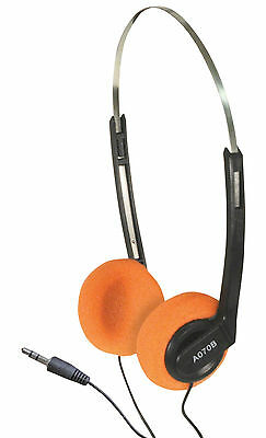 Lightweight Stereo Music Computer Adjustable Headphones With Orange Pads
