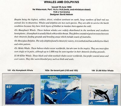 1995 AAT Whales and Dolphins set of 4 MUH