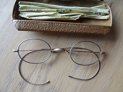 Antique gold rimmed spectacles in case circa 1890 - 1920