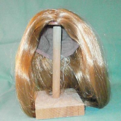 """doll wig blond 13"""" to 14"""" long hair w. 3 find braids right hand side"""
