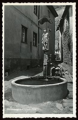 #01 B&W real photographic postcard Florianbrunnen Pfunds Tirol - alps