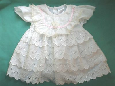 doll dress white, skirt w. broderie angl.  /doll clothing/Germany
