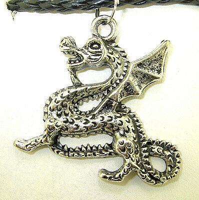 """New  Very Large  3-D  DRAGON  Silver-tone Pendant   18"""" - 20"""" Black Necklace"""