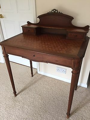 Antique Vintage Writing Desk With Attractive Marquetry Top & Open Filigree