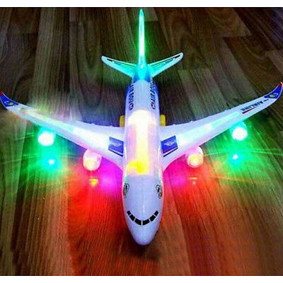 Electric Airplane Airbus Child Toy Musical Moving Flashing Lights Sounds Toys