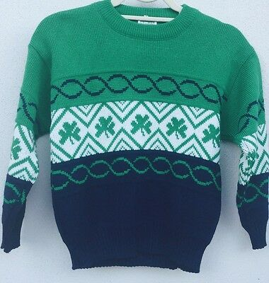 100% Acrylic Green White Blue JUMPER For Kids  Made in Ireland Quality ITEM