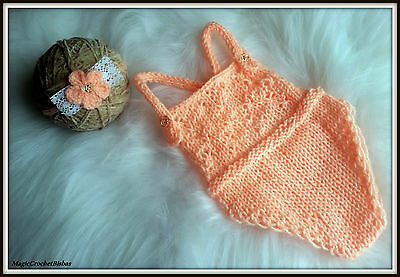 Newborn hand knitted baby girl photography set romper+bow tie headband photoprop