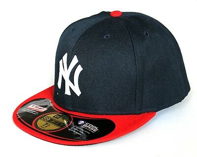 NY New York Adults 59Fifty 7 1/2 & 7 5/8 Navy Blue & Red Cool Base Baseball Cap