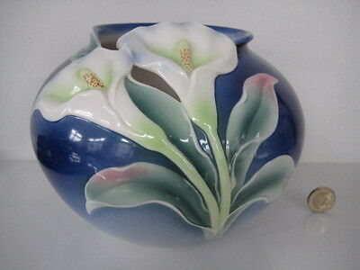 Superb Franz Porcelain Calla Lily Flower Large Round Vase Recticulated Xp1887