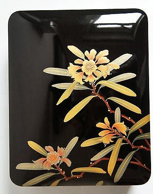 Authentic Japanese Wooden Lacquered Box - Rhododendron Motifs