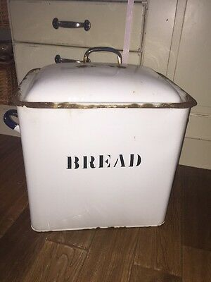Huge Industrial Vintage Enamel Bread Bin Antique Homestyle Farmhouse Kitchen