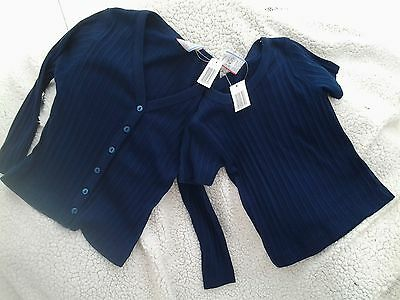 Bnwt - Girls Navy Blue Short Sleeved Top & Cardigan Twinset Age - 4/5 Years