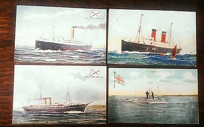 4 x original early postcards of ships