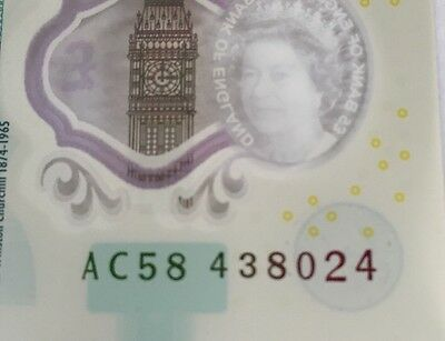 Extremely Rare Polymer New £5 Note Misprint / Error 5 Characters In Blue Box