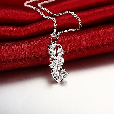 Wholesale Jewelry Lady Silver Necklace Pendant Chain Love Heart Xmas Gift
