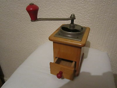 Vintage Wooden Cast Iron Coffee Grinder Mill
