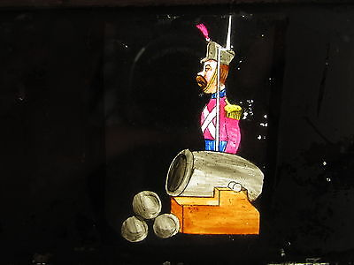 Antique Wooden Moving Mechanical Magic Lantern Slide View Hand Tinted Military