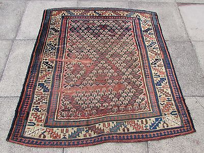 Antique Traditional Hand Made Persian Oriental Wool Brown Square Rug 145x130cm