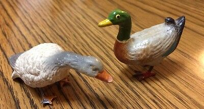 2 Vintage Antique Christmas Putz GEESE DUCK Composition w/Metal Feet