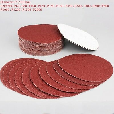 "7"" 180mm Abrasive Sanding Disc Hook And Loop Sandpaper Discs Pads 40-2000 Grit"