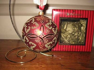 WATERFORD HH $48 Crimson Red Celtic Knot Blown Glass Christmas Ball Ornament NIB