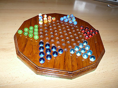 Solid Oak - Wooden Chinese Chequers ( Checkers ) set with Glass Marbles
