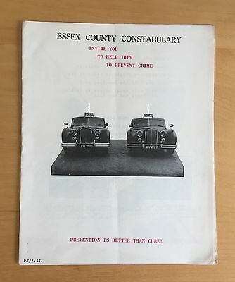Original 1956 Essex County Police Crime Prevention Advertising Pamphlet
