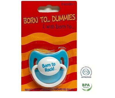Personalised Dummy Dummies Pacifier Baby Kid Soother BORN TO ROCK DUMMY