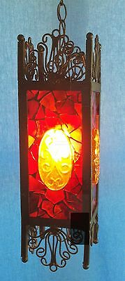 Vintage Arts & Crafts Mission Medieval Gothic Stained Glass Hanging Swag Light