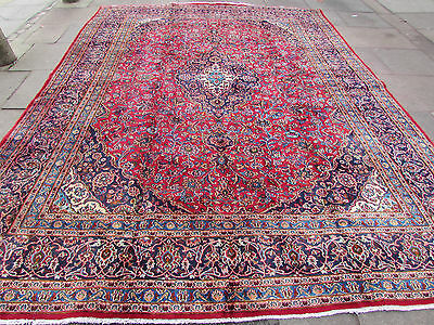 Old Traditional Hand Made Persian Rug Oriental Rug Carpet Wool Red 391x291cm