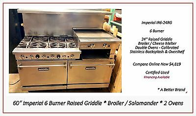 """60"""" Gas Range 6 Burners 2 Ovens 24"""" Raised Griddle IMPERIAL - Excellent Used"""