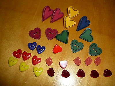 Lot 30 Vgte Valentine Heart Buttons- All Colors, Sizes And Material # 2694