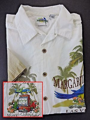 "Margaritaville ""Las Vegas"" Hawaiian Shirt SIZE SMALL Mens White Parrot Head"