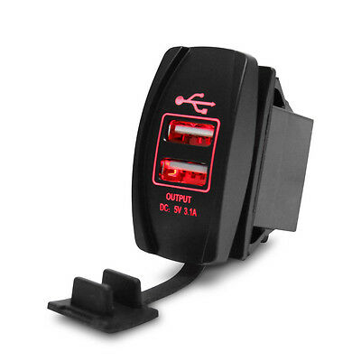 Car Auto USB 2.0 3.0 3.1 Dual Head Panel Mount Kit 12v Red LED Light