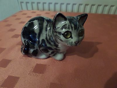 Lovely Cat Figurine From Winstanley - Size 1 - Silver Tabby