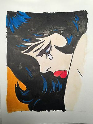 Crying Woman Pop Art Comic Book India Ink Drawing Paiting