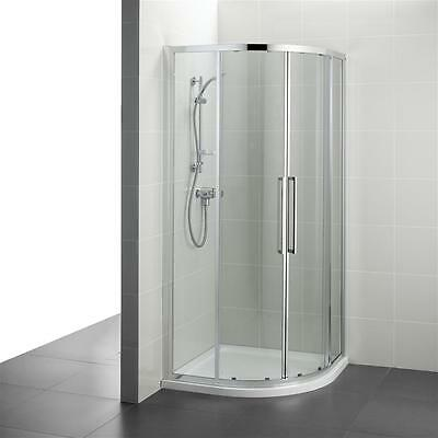 Ideal Standard White Resin Corner Shower Tray With Kubo Quadrant Enclosure