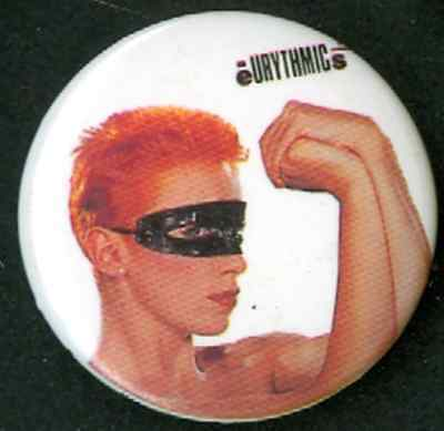 PINBACK BUTTON ORIGINAL VINTAGE 1984 THE EURYTHMICS dated 1984